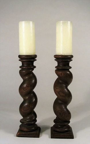 Antique William & Mary Style Barley Twist Wood Candle Stands