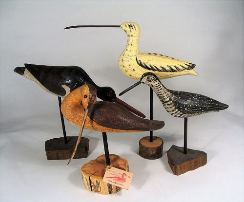Four Vintage Carved Wooden Shore Bird Figures