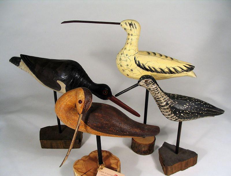 Four Vintage Carved Wooden Shore Bird Figures