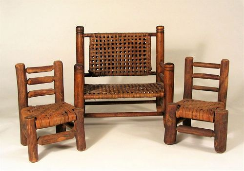 Vintage Miniature Wood Splint Seat Bench & Chairs