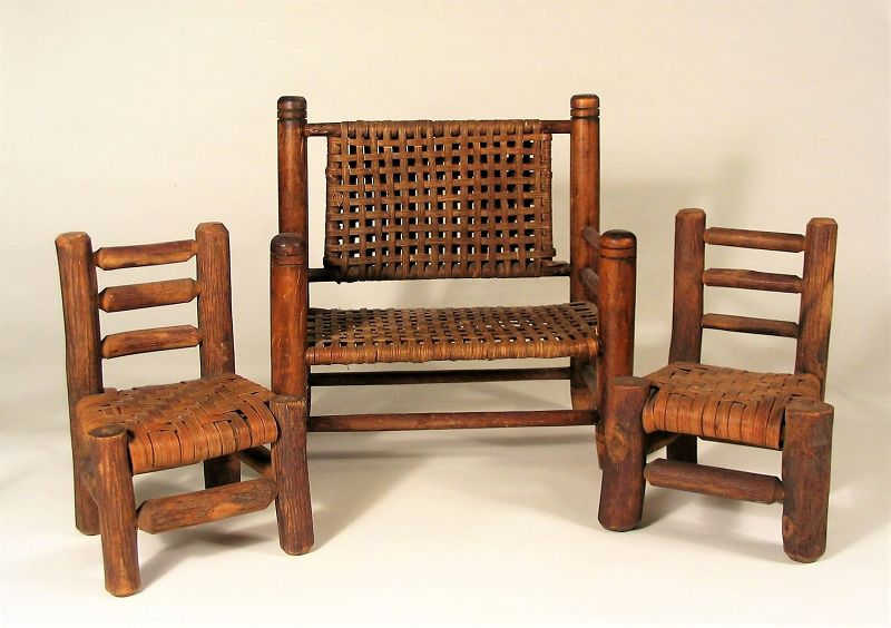 Vintage Miniature Wood Splint Seat Bench & Chairs