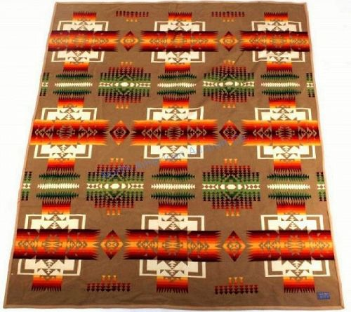 Large Pendleton Indian Pattern Wool Blanket, Beaver State
