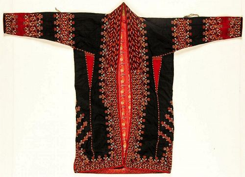 Beautiful Antique Silk Embroidered Tekke Turkmen Coat