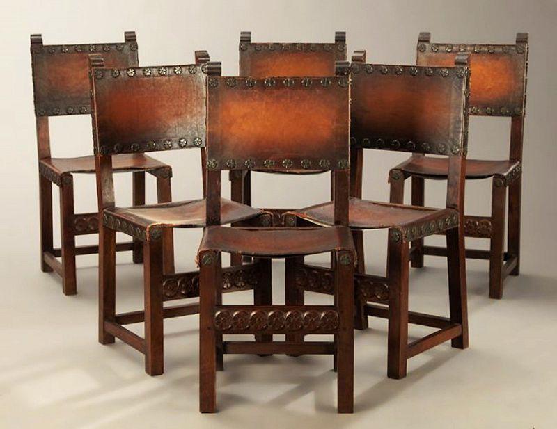 Six Antique Spanish Renaissance Walnut & Leather Dining Chairs - Six Antique Spanish Renaissance Walnut & Leather Dining Chairs