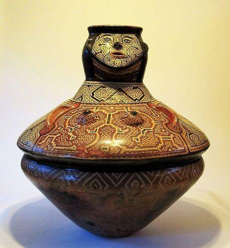 Large Peruvian Shipibo Pottery Effigy Vessel, 20th C