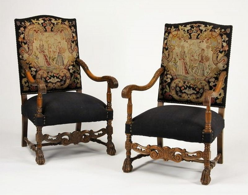 Pair Late 19th C. Carved Walnut French Needlepoint Armchairs