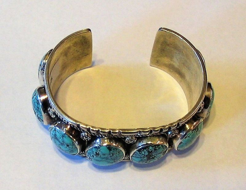 Excellent Sterling & Turquoise Navajo Cuff Bracelet, Signed LLS