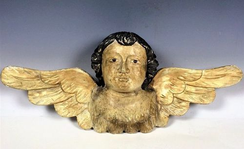 Antique Carved Wood Cherub