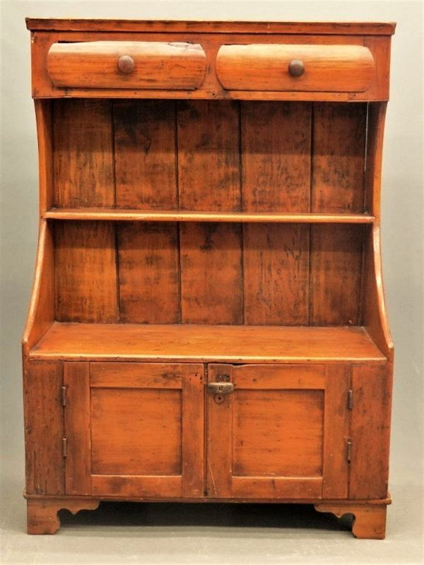 Antique American Country High Back Bucket Bench or Cupboard