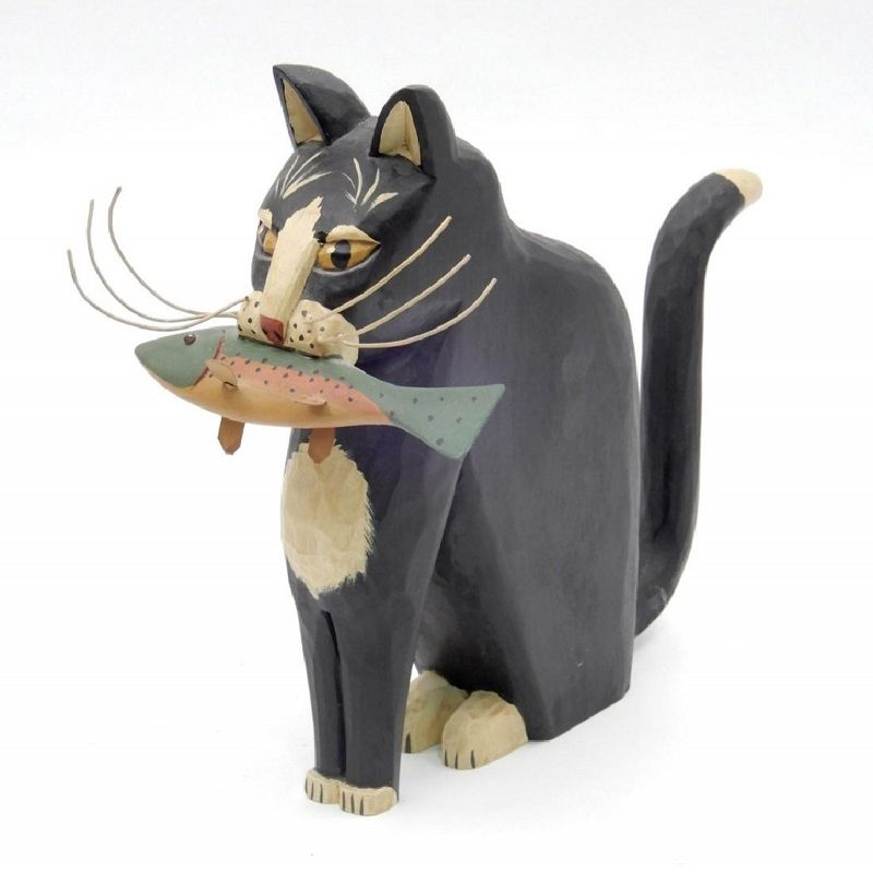 Folk Art Wood Carving of Cat with Fish, by G&G Hosfeld