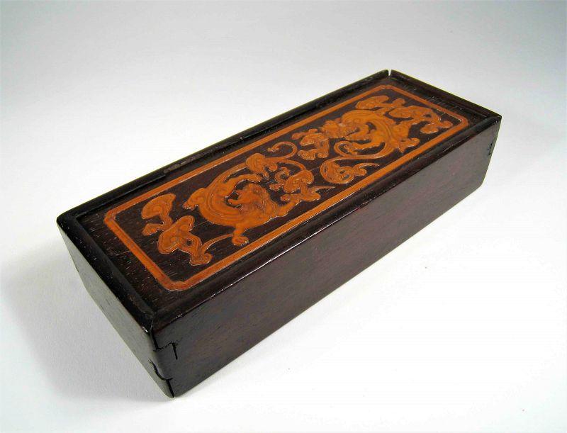 Zitan & Bamboo Chinese Scholar�s Box, Early 19th C.