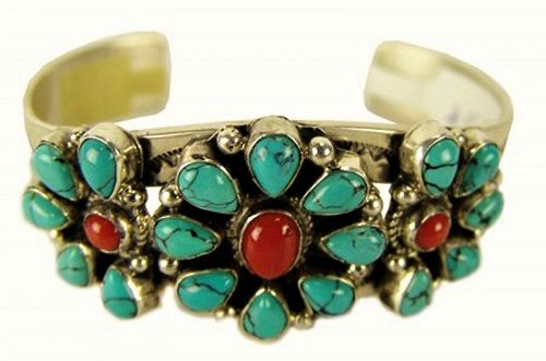 Sterling, Turquoise & Coral Navajo Cuff Bracelet by Leonard Jackson
