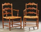 Pair of Antique French Provincial Carved Cherry Armchairs