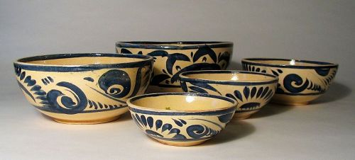Set of Five Vintage Blue & White Mexican Nesting Bowls