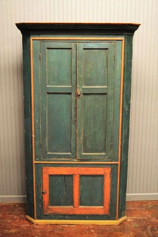 Early New England Corner Cupboard in Original Blue Paint