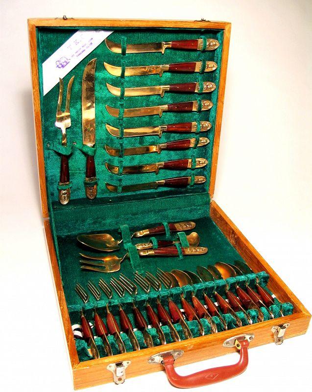 Vintage Thailand Brass & Wood Siam Flatware Set, Original Box