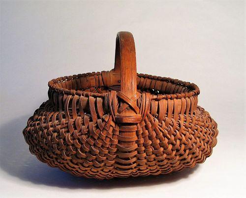 Large Antique Pennsylvania Oak Splint Field or Market Basket