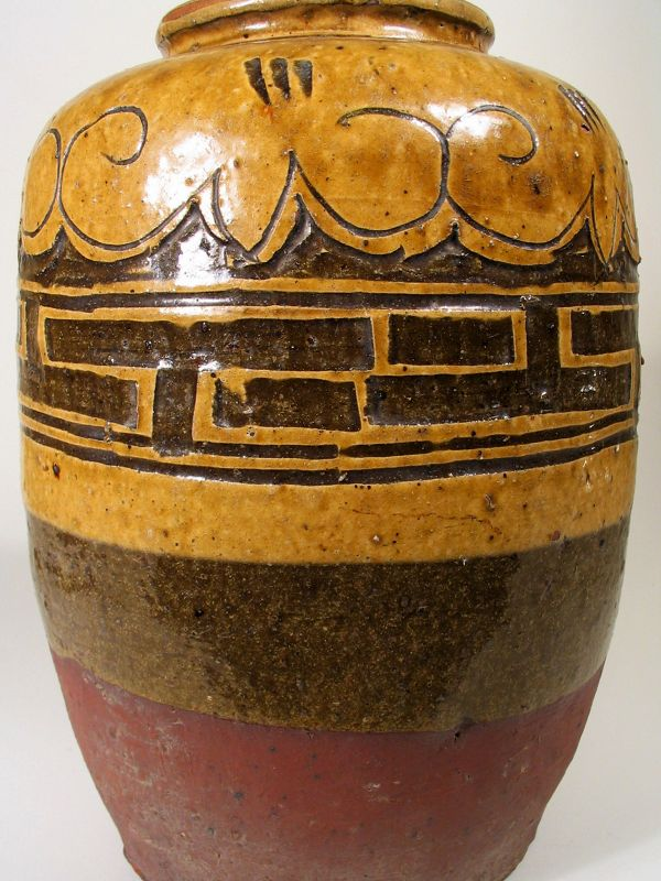 Handsome Chinese Red Clay Oil Jar, 19th C.
