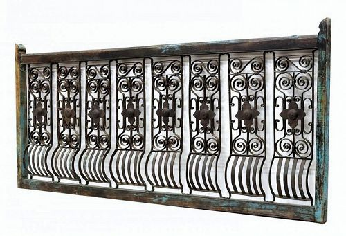 Dutch Colonial Hand-Forged Iron Architectural Terrace Railing