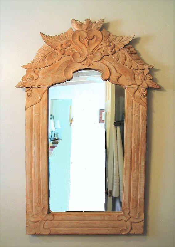 Vintage Hand Carved Mexican Pine Mirror