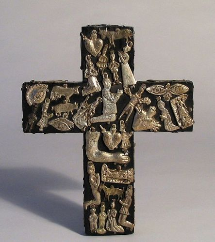 Mexican Milagros Devotional Cross (Ex Voto)