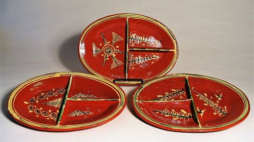 Set of Three Mexican Divided Platters, 1940's