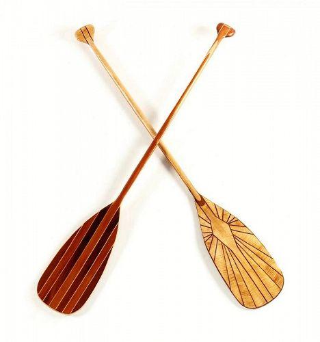 Two Artisan Inlaid Canoe Paddles