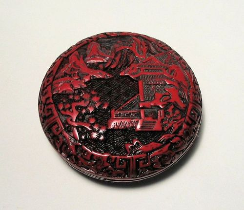 Chinese Cinnabar Seal Paste Box, Qing