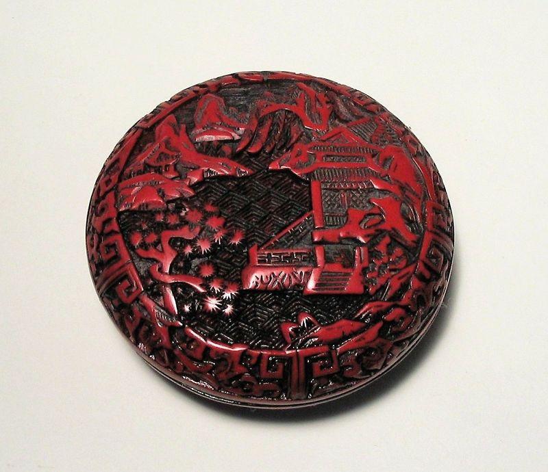 Chinese Cinnabar Seal Paste Box, Qing