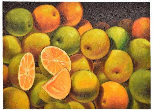 Oil Painting on Canvas, �Naranjas,� Signed