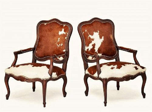 Wonderful Pair Cowhide Louis XV Chairs