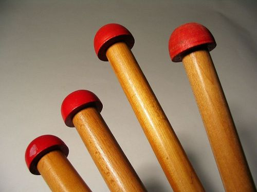 Two Large Pair Vintage Wooden Knitting Needles with Red Knobs