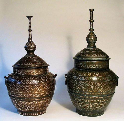 Pair of Antique Silver-Inlaid Wedding Vessels (Gadur), Moro People