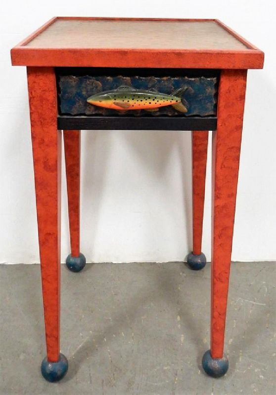 Folk Art Copper Topped End Table with Fish