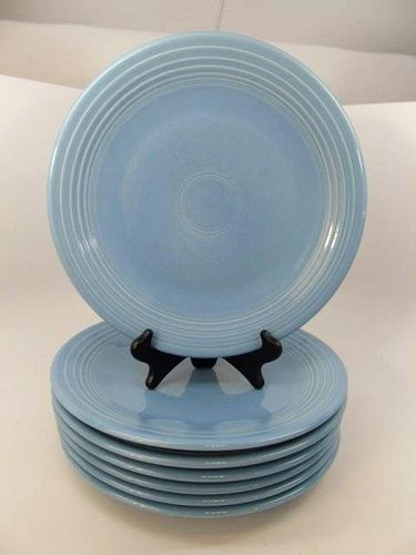 Eight Periwinkle Blue Fiesta Ware Dinner Plates