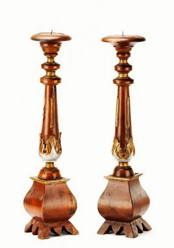 Pair of Vintage Italian Carved Wood Candle Prickets