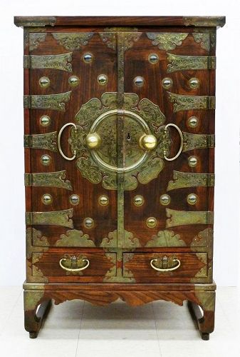 Korean Bandaji Chest with Elaborate Brass Mounts