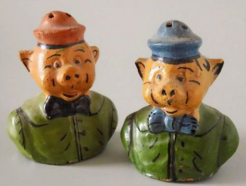 Pair Vintage Mexican Piglets Salt & Pepper Shakers