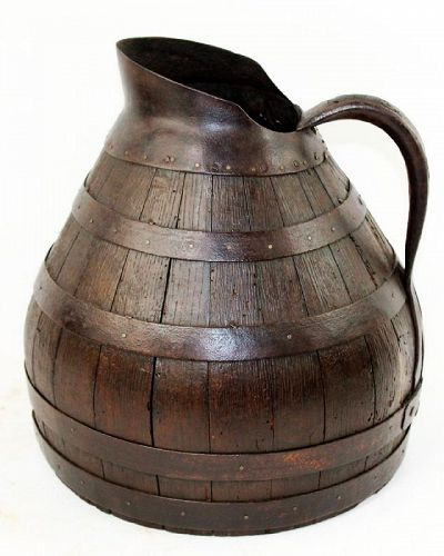 Antique French Alsacian Wood & Iron Wine Pitcher
