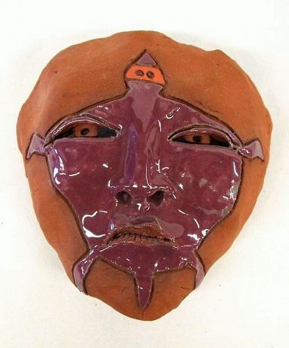 Glazed Redware Mask, �Cold Morning,� by LaFontaine