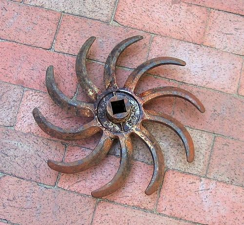 "14"" Cast Iron Rotary Farm Implement, Industrial and Garden Art"