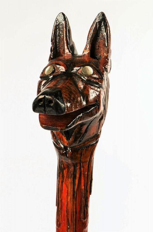 Carved Wood �Wolf� Folk Art Cane, Milton Jews