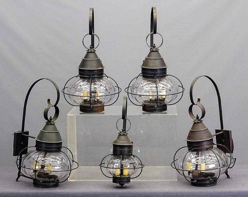 Set of Five Large Vintage Outdoor Caged Onion Lamps / Lights