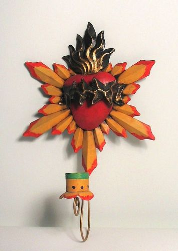 Vintage Mexican Painted Metal Sacred Heart Candle Holder