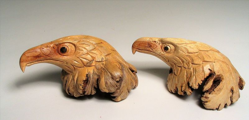 Pair of Hand Carved Burl Eagle Heads, Chinaberry Wood