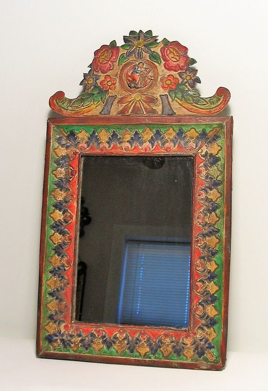 Spanish Colonial Painted Metal Mirror