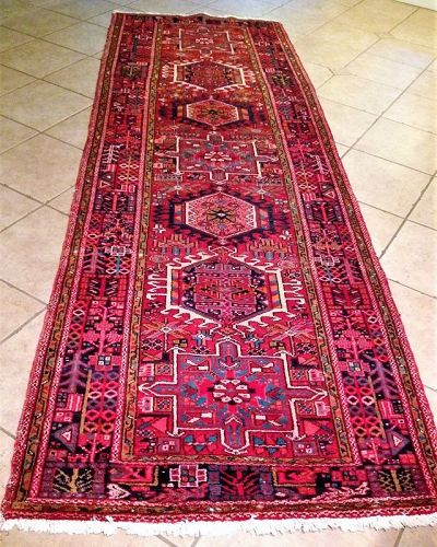Beautiful Semi-Antique Persian Karaja Hand-Knotted Wool Runner
