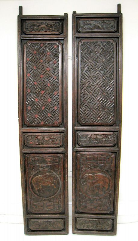 Pair of Tall, Heavily Carved Chinese Doors, Early 19th C.