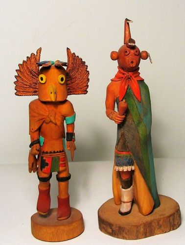 Pair Native American Hopi Carved Wood Kachina Dolls