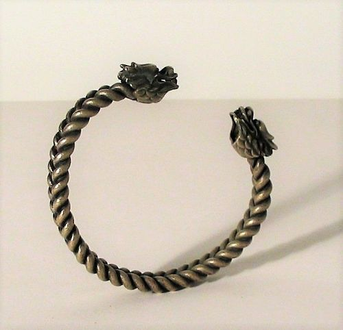 Late 19th C. Chinese Silver Tribal Dragon Bracelet